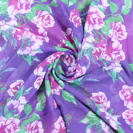 Purple White and Green Flower Georgette Silk Fabric-15109